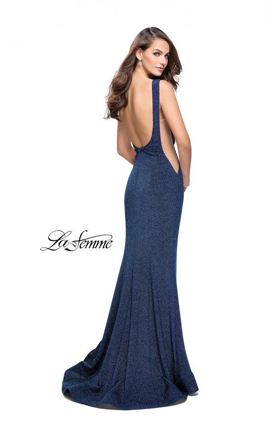 Picture of: Long Form Fitting Jersey Prom Dress with Flare Skirt, Style: 25421, Back Picture