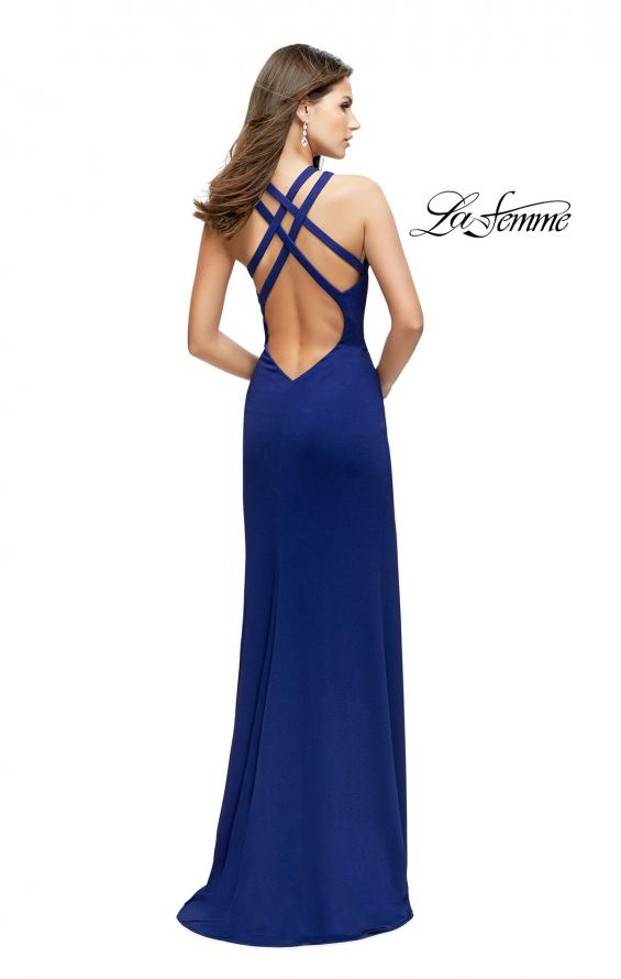 Picture of: High Neck Prom Dress with Halter Double Strap Detail, Style: 25883, Back Picture