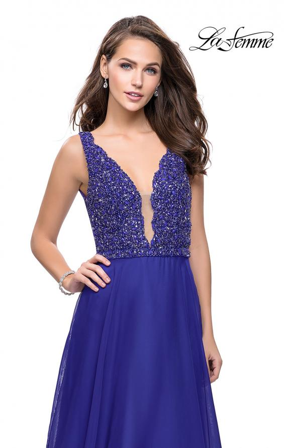 Picture of: A-Line Prom Gown with Chiffon Skirt and Beaded Bodice in Indigo, Style: 26053, Back Picture