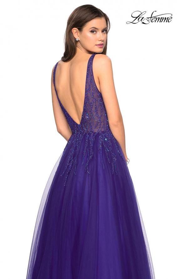 Picture of: A-Line Prom Dress with Rhinestones and Deep V Back, Style: 27688, Back Picture