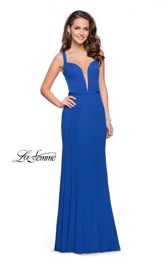 Picture of: Form Fitting Mermaid Prom Dress with Plunging Neckline in Indigo, Style: 25964, Detail Picture 1
