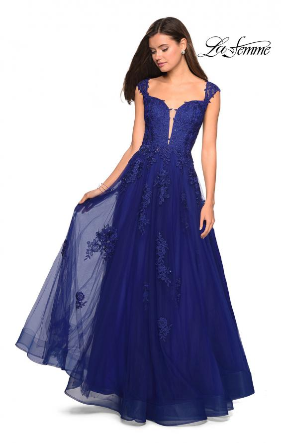 Picture of: Floor Length Cap Sleeve Prom Gown with Lace Detail in Indigo, Style: 27503, Detail Picture 1