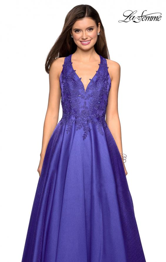 Picture of: Floor Length Mikado Gown with Lace and Rhinestones in Indigo, Style: 27529, Detail Picture 1