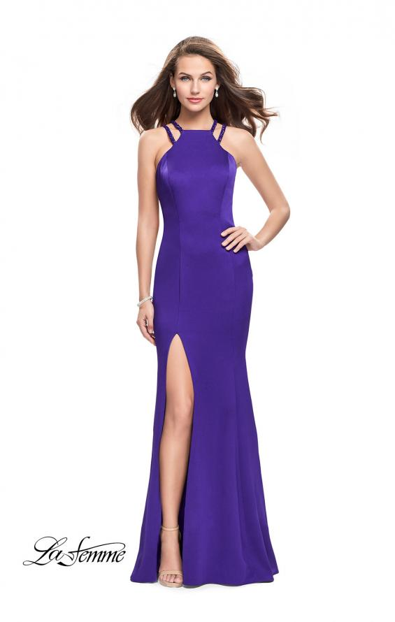 Picture of: Classic Long Evening Gown with Beaded Straps and Slit in Indigo, Style: 25540, Detail Picture 2