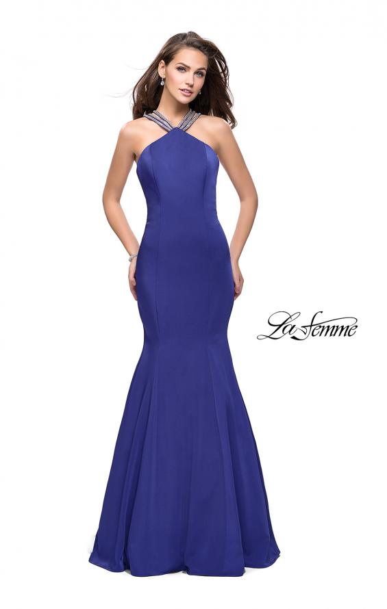 Picture of: Halter Mermaid Prom Dress with Metallic Beading in Indigo, Style: 25763, Detail Picture 2