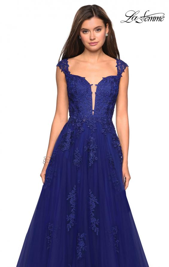 Picture of: Floor Length Cap Sleeve Prom Gown with Lace Detail in Indigo, Style: 27503, Detail Picture 2