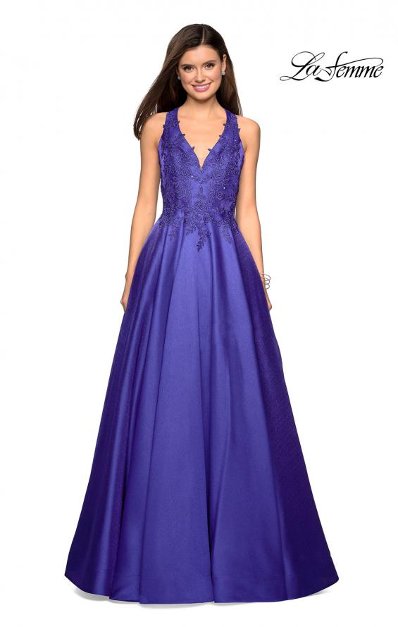 Picture of: Floor Length Mikado Gown with Lace and Rhinestones in Indigo, Style: 27529, Detail Picture 2