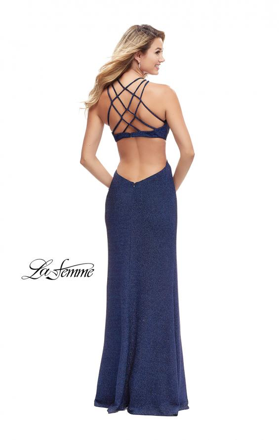 Picture of: Long Sparkly Dress with High Neckline and Side Slit in Indigo, Style: 25346, Detail Picture 3