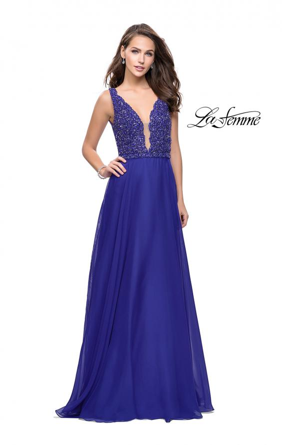 Picture of: A-Line Prom Gown with Chiffon Skirt and Beaded Bodice in Indigo, Style: 26053, Detail Picture 3