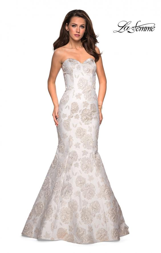 Picture of: Floor Length Mermaid Strapless Floral Prom Dress in Ivory Gold, Style: 27275, Main Picture