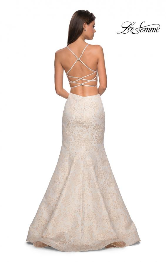 Picture of: Two Piece FLoral Mermaid Gown with Strappy Back in Ivory Gold, Style: 27749, Main Picture