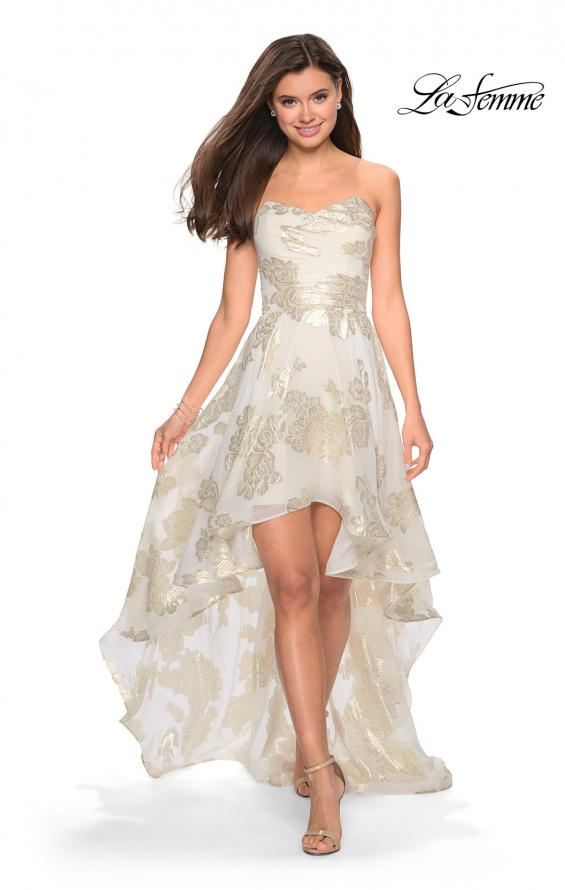 Picture of: Strapless Metallic Floral High Low Prom Dress in Ivory/Gold, Style: 27753, Main Picture