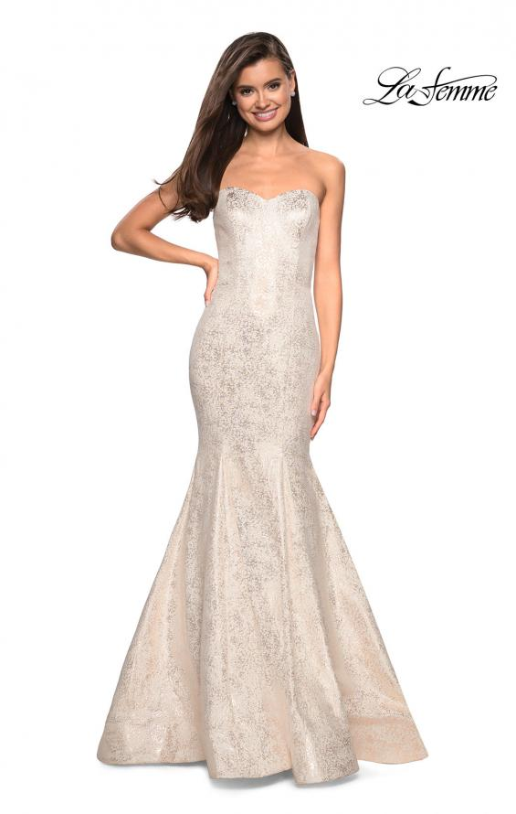 Picture of: Strapless Mermaid Jacquard Prom Dress in Ivory/Gold, Style: 27789, Main Picture