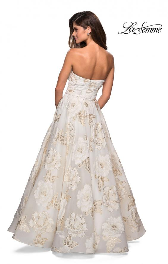 Picture of: Strapless Floral A Line Ball Gown with Pockets in Ivory Gold, Style: 27207, Back Picture