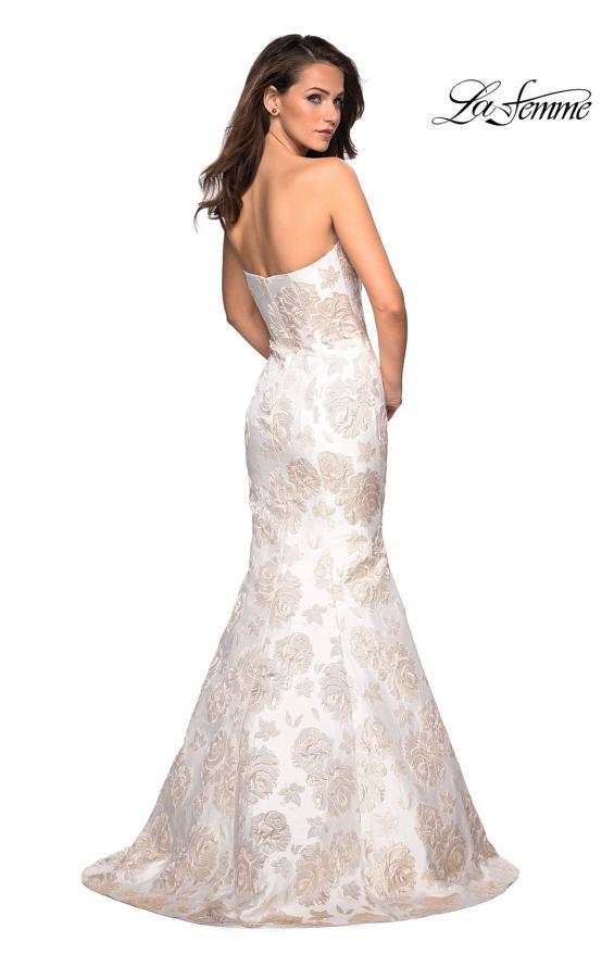 Picture of: Floor Length Mermaid Strapless Floral Prom Dress in Ivory Gold, Style: 27275, Back Picture