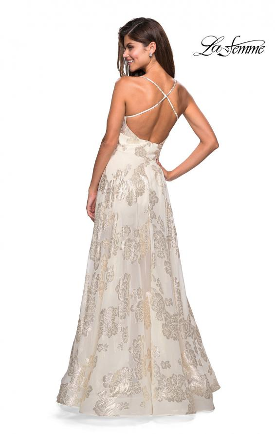 Picture of: Sheer Floral Silk Burnout Prom Dress with Shorts in Ivory Gold, Style: 27547, Back Picture