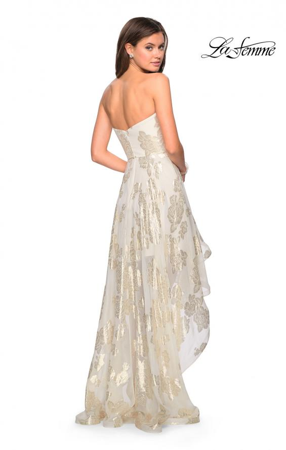 Picture of: Strapless Metallic Floral High Low Prom Dress in Ivory/Gold, Style: 27753, Back Picture