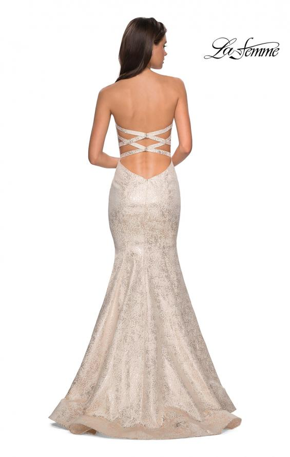 Picture of: Strapless Mermaid Jacquard Prom Dress in Ivory/Gold, Style: 27789, Back Picture