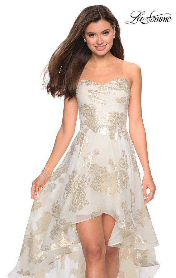 Picture of: Strapless Metallic Floral High Low Prom Dress in Ivory/Gold, Style: 27753, Detail Picture 1