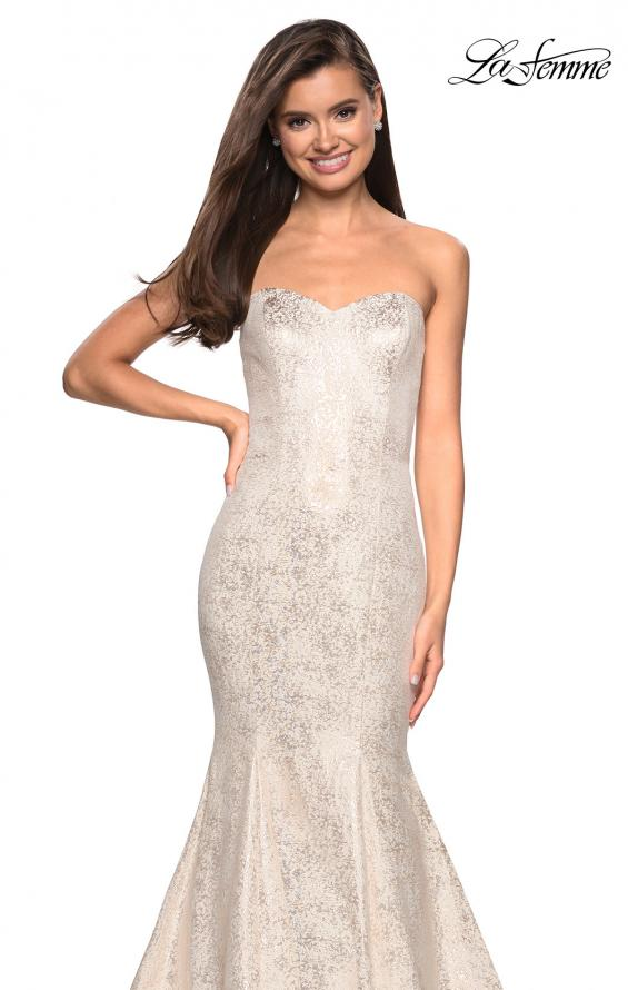Picture of: Strapless Mermaid Jacquard Prom Dress in Ivory/Gold, Style: 27789, Detail Picture 1