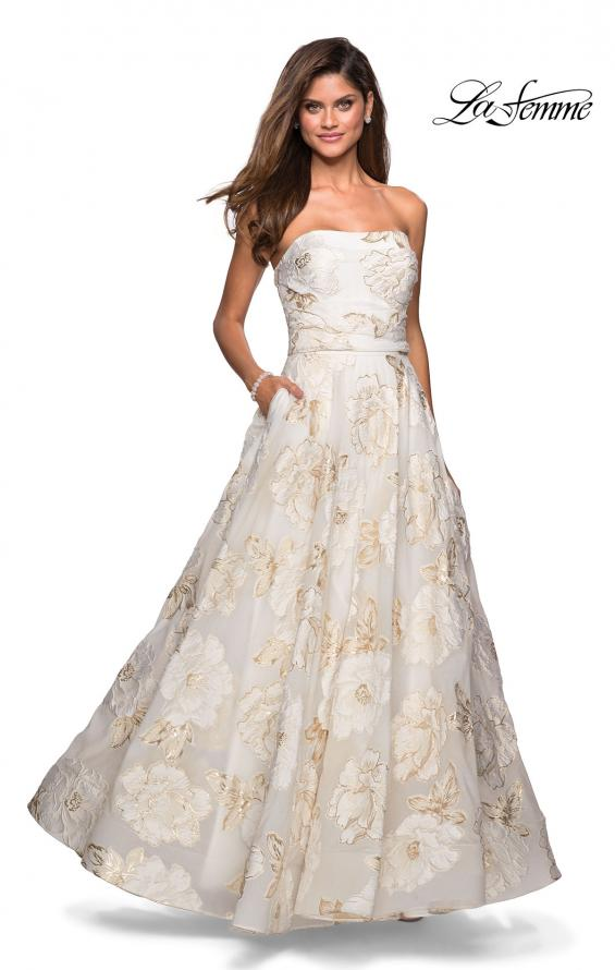 Picture of: Strapless Floral A Line Ball Gown with Pockets in Ivory Gold, Style: 27207, Detail Picture 2