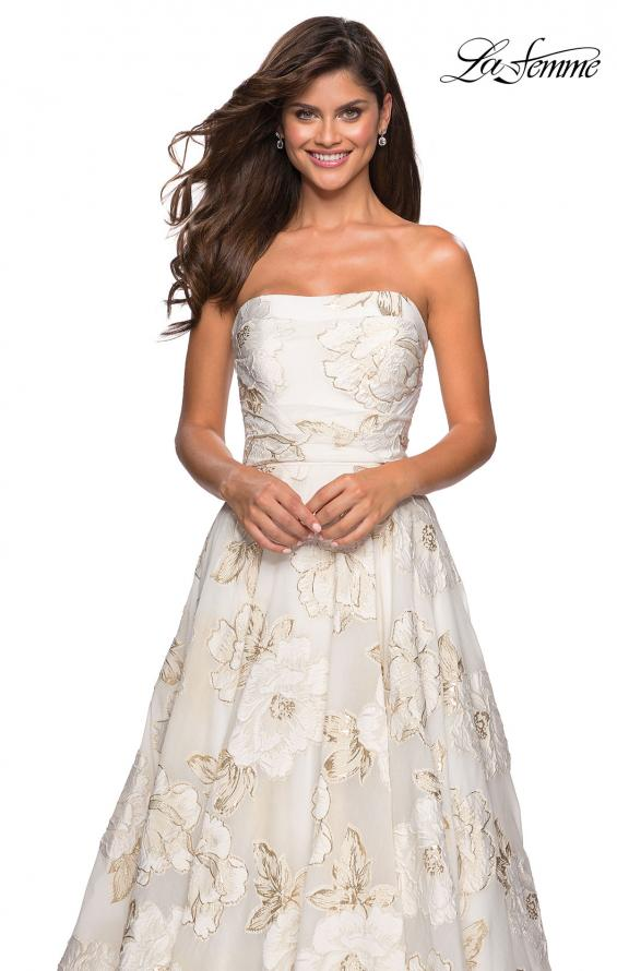 Picture of: Strapless Floral A Line Ball Gown with Pockets in Ivory Gold, Style: 27207, Detail Picture 4