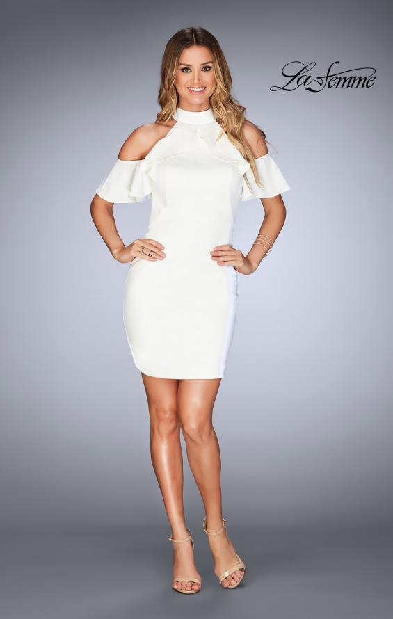 Picture of: Ruffle Halter Top Dress with Tight Jersey Skirt, Style: 25147, Detail Picture 9