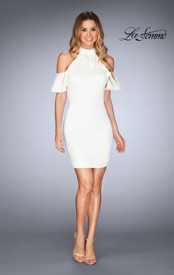 Picture of: Ruffle Halter Top Dress with Tight Jersey Skirt, Style: 25147, Detail Picture 12