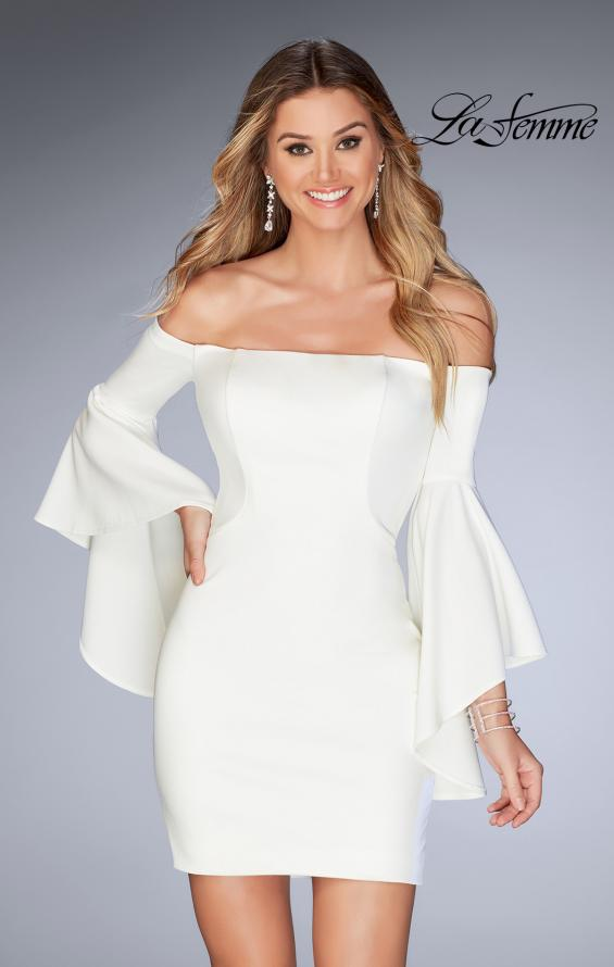 Picture of: Off the Shoulder Ruffle Sleeve Homecoming Dress in Ivory, Style: 25033, Detail Picture 2