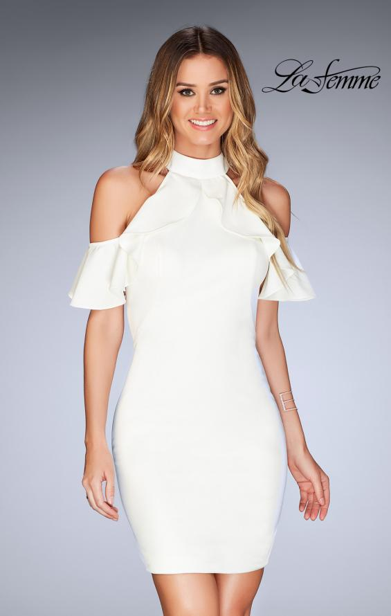 Picture of: Ruffle Halter Top Dress with Tight Jersey Skirt, Style: 25147, Detail Picture 5