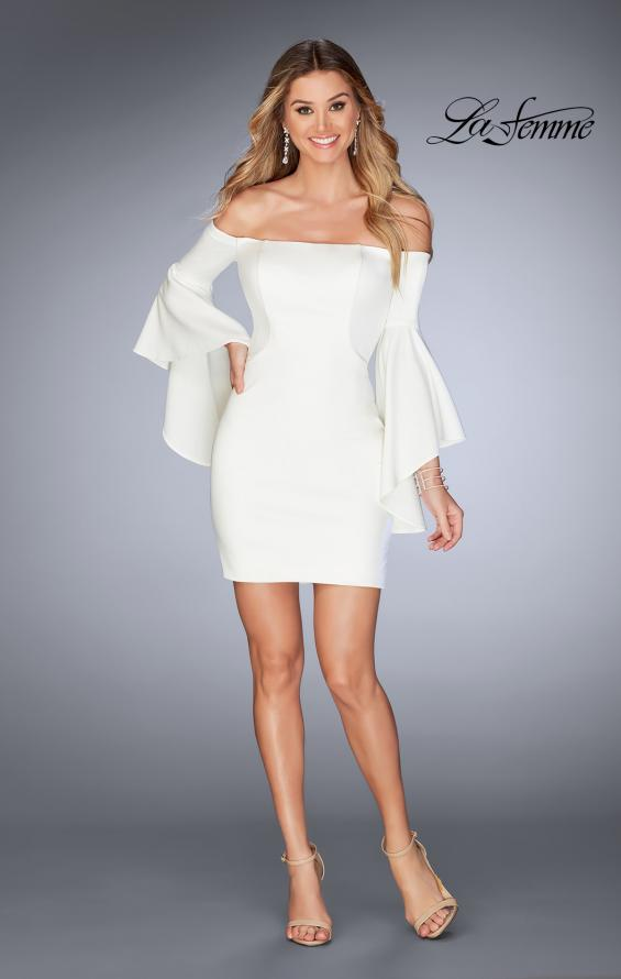 Picture of: Off the Shoulder Ruffle Sleeve Homecoming Dress in Ivory, Style: 25033, Detail Picture 6