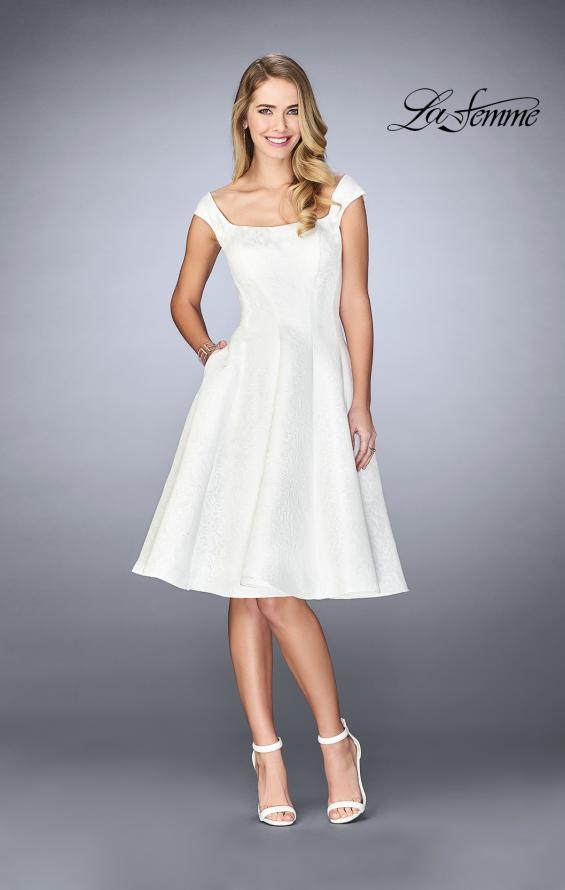 Picture of: Knee Length Evening Dress with Pockets in Ivory, Style: 24898, Detail Picture 1