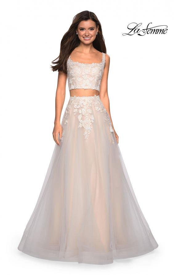 Picture of: Two Piece Tulle Dress with Cascading Applique Detail, Style: 27635, Main Picture