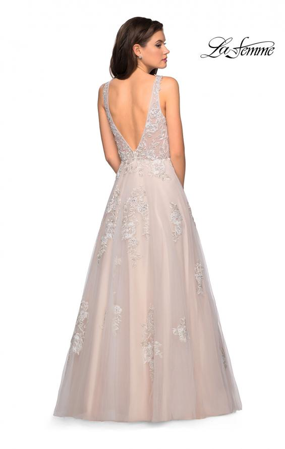 Picture of: A-Line Ball Gown with Sparkling Floral Appliques, Style: 27727, Back Picture