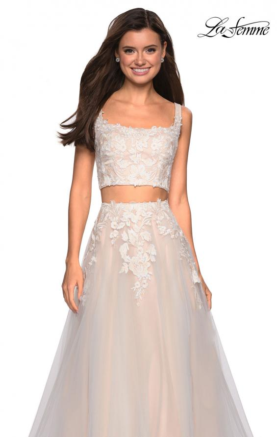 Picture of: Two Piece Tulle Dress with Cascading Applique Detail, Style: 27635, Detail Picture 1