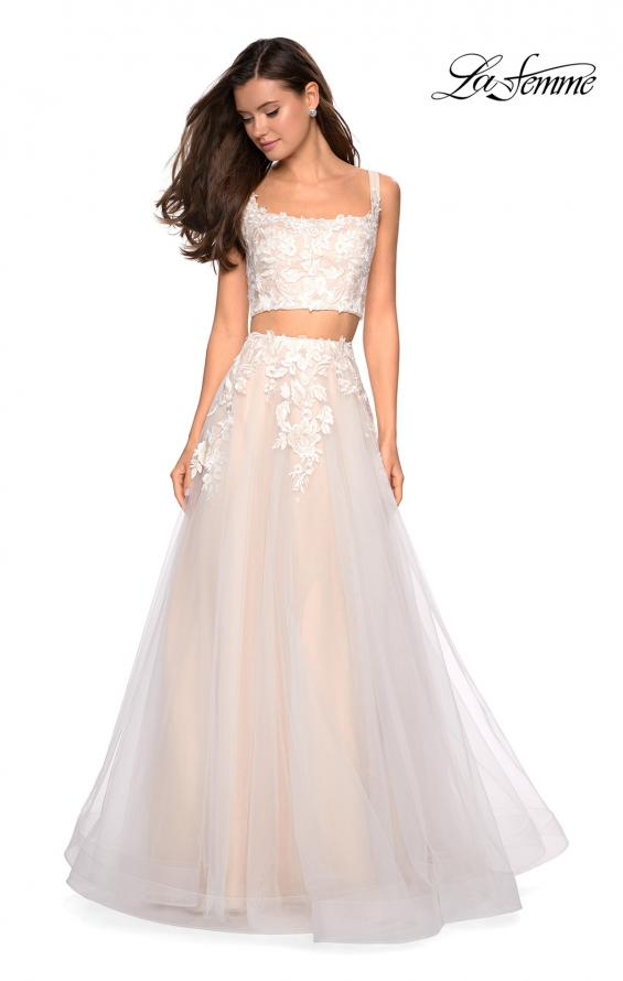 Picture of: Two Piece Tulle Dress with Cascading Applique Detail, Style: 27635, Detail Picture 3