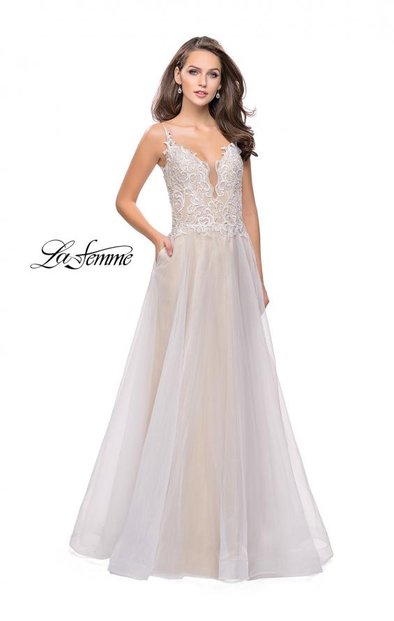 Picture of: A-line Ball Gown with Organza Skirt and Beaded Bodice in Ivory, Style: 25701, Main Picture