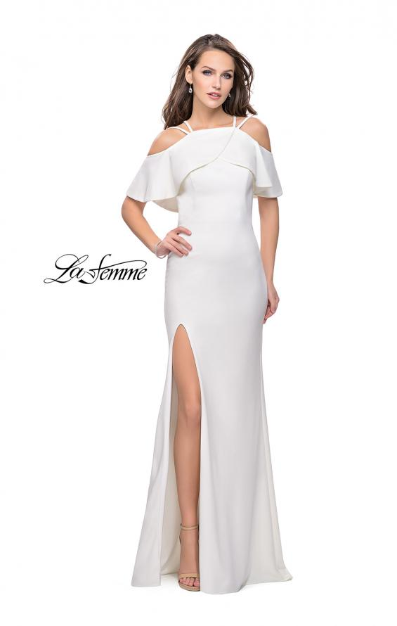 Picture of: Long Jersey Prom Dress with Off the Shoulder Ruffle Detail, Style: 25556, Back Picture