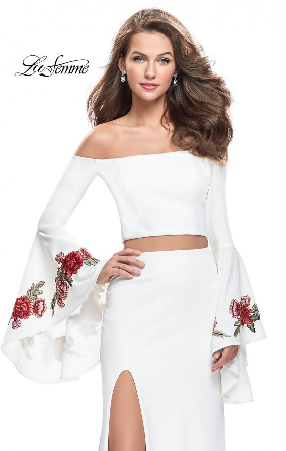 Picture of: Two Piece Off the Shoulder Dress with Long Bell Sleeves, Style: 25741, Detail Picture 1