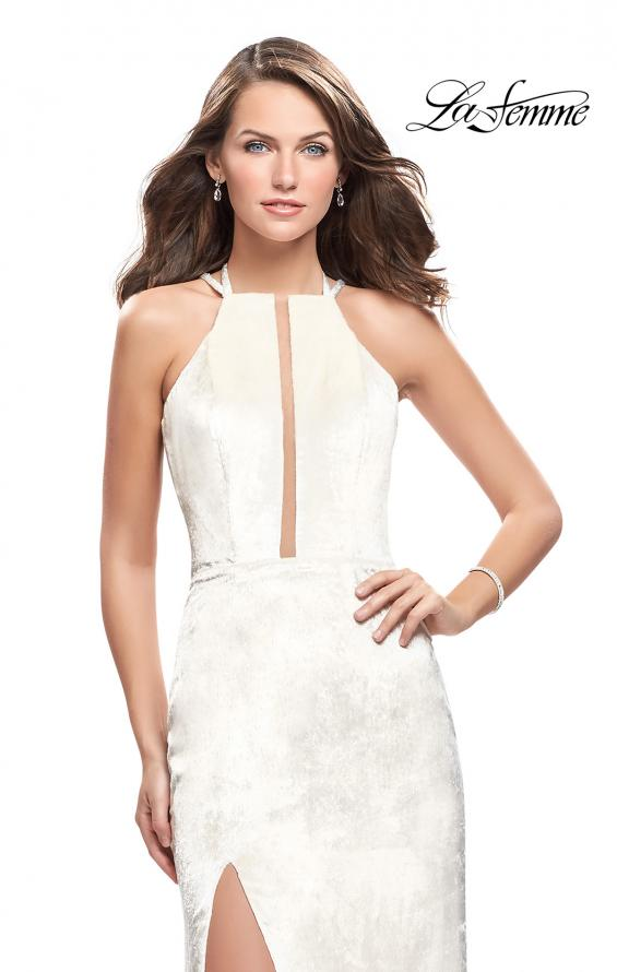 Picture of: Long Velvet Prom Dress with Leg Slit and Open Back in Ivory, Style: 25861, Detail Picture 1