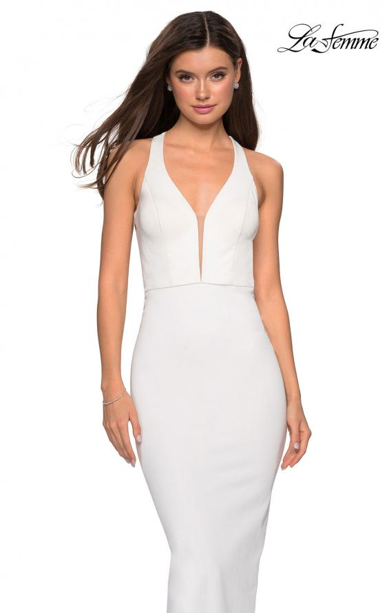 Picture of: Body Forming Dress with Exposed Zipper and Slit in Ivory, Style: 27637, Detail Picture 1
