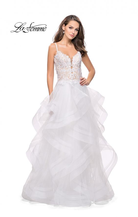 Picture of: Ball Gown with Tulle Skirt and Beaded Lace Bodice in Ivory, Style: 26148, Detail Picture 2