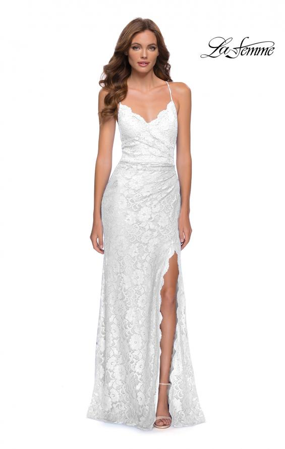 Picture of: Lace Long Dress with Scallop Detail on Skirt Slit in Ivory, Style 29939, Detail Picture 2