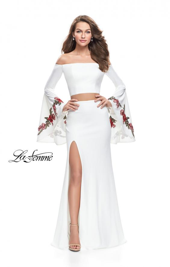 Picture of: Two Piece Off the Shoulder Dress with Long Bell Sleeves, Style: 25741, Detail Picture 4
