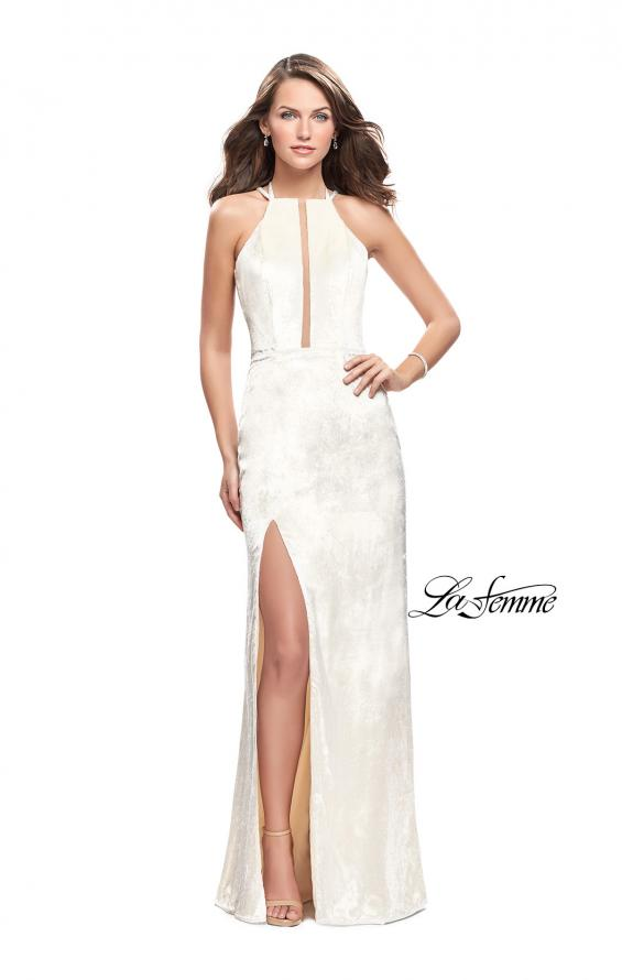 Picture of: Long Velvet Prom Dress with Leg Slit and Open Back in Ivory, Style: 25861, Detail Picture 2