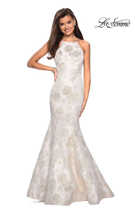 Picture of: Long Floral Mermaid Prom Dress with High Neckline in Ivory/Silver, Style: 27796, Back Picture