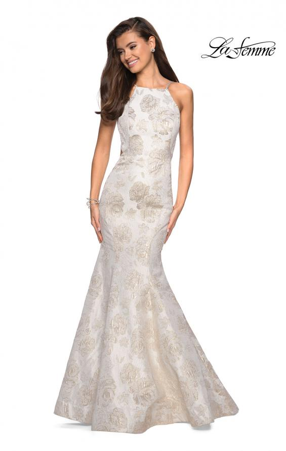 Picture of: Long Floral Mermaid Prom Dress with High Neckline in Ivory/Silver, Style: 27796, Detail Picture 1