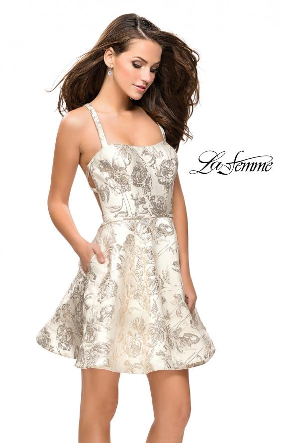 Picture of: Metallic Floral Dress with Pockets and Criss Cross Straps, Style: 26656, Main Picture