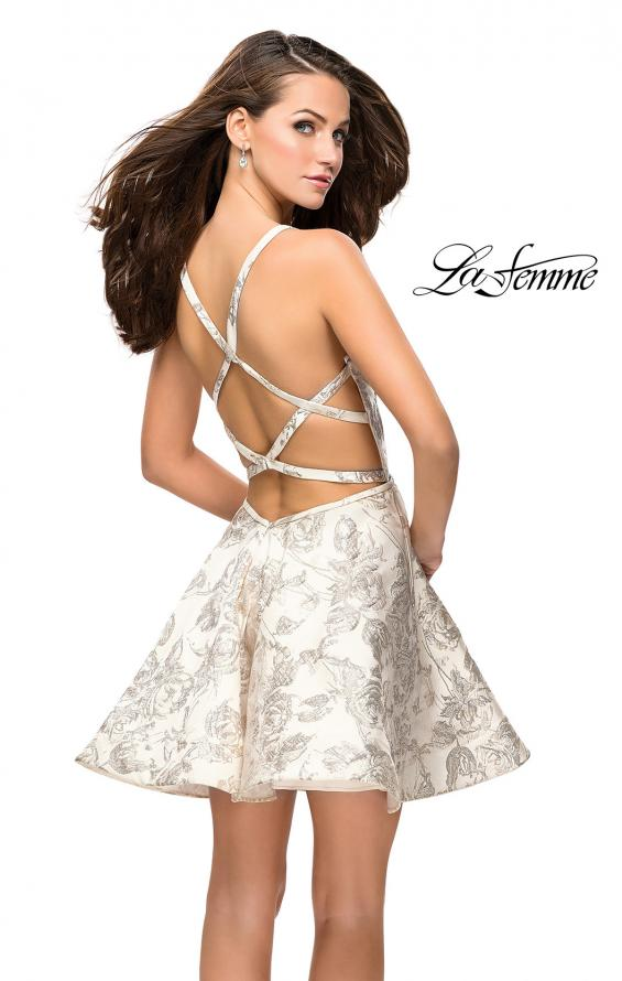 Picture of: Metallic Floral Dress with Pockets and Criss Cross Straps, Style: 26656, Back Picture