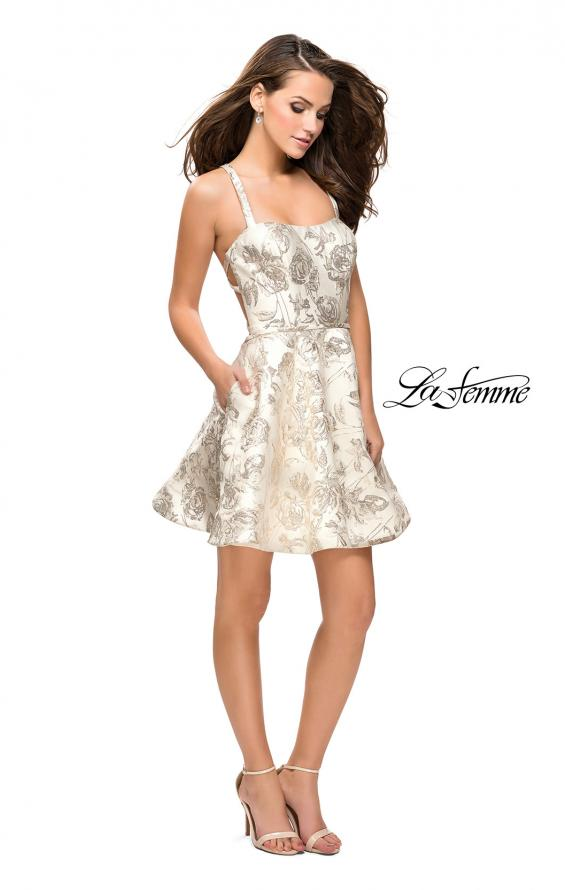 Picture of: Metallic Floral Dress with Pockets and Criss Cross Straps, Style: 26656, Detail Picture 2